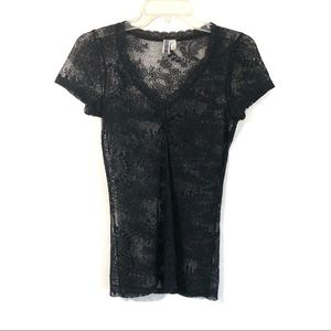 Urban Outfitters BKE black lace fitted top